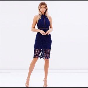Bardot Gemma Halter Lace Sheath Dress Size S